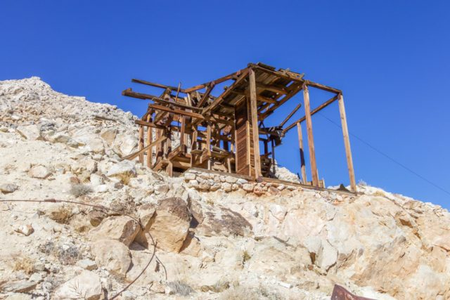 Lost Burro Mine equipment from trail going up to it