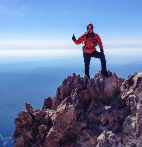 Todd is a member of the Contra Costa Sheriffs Mountain Rescue team and is shown here after summiting Mount Shasta at 14,180 ft.
