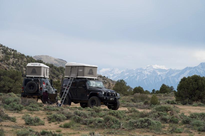 Roof top tent- view of sierra