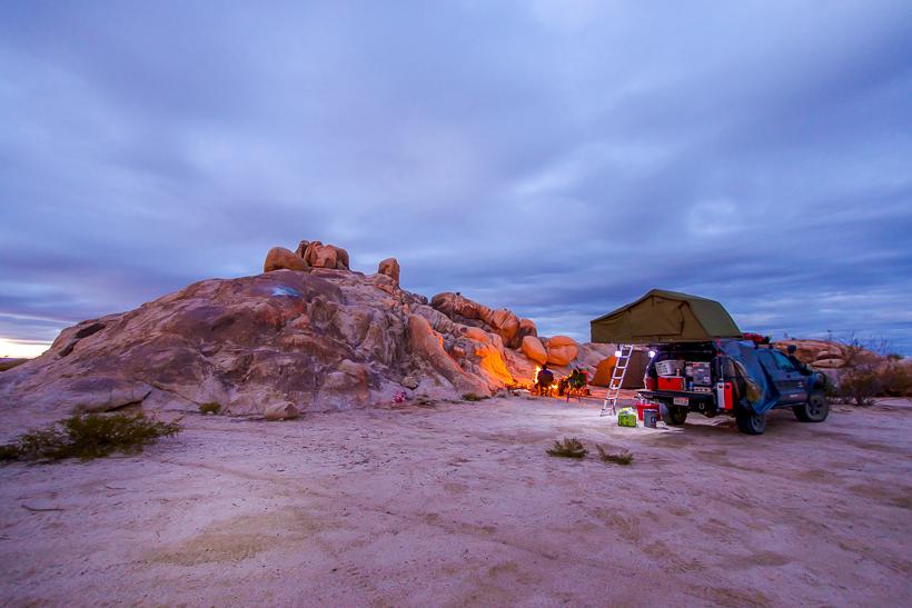 Roof top tent at balancing rock.
